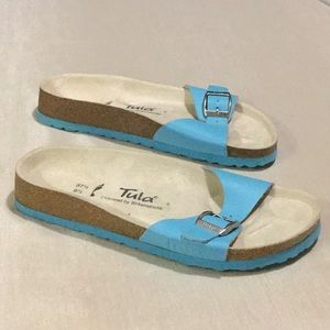 Birkenstocks Tula Blue Buckled Slip On Sandal NWOB